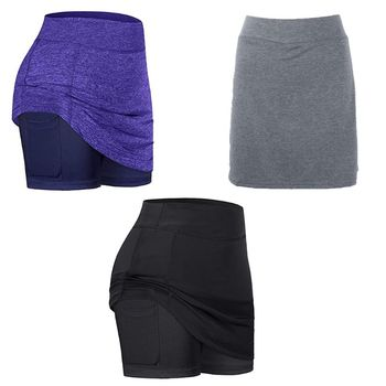 Women 2-In-1 Active Tennis Skirts Inner Mesh Shorts Leggings with Pocket Stitching Elastic Sports Fitness Golf Skorts  S-2XL