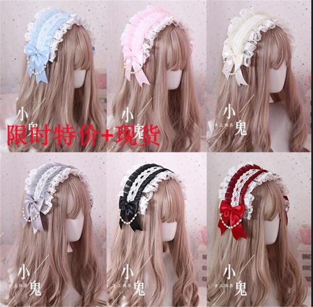 Diadema Retro japonesa de Lolita KC para mujer, Diadema con lazo, horquilla de encaje, accesorios de Cosplay B445