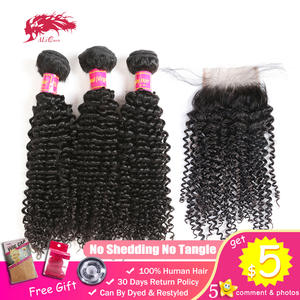 Closure Kinky-Curly-Bundles One-Donor with Unprocessed Virgin Brazilian Human-Hair 4x4/Swiss/Lace/Free-part
