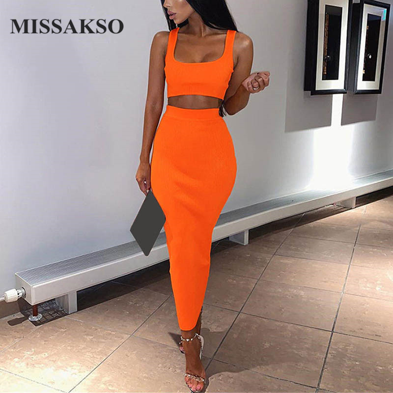 Missakso Two Piece Set Midi Dress Sleeveless Tank Club Fashion Party Summer Women Ribbed Dresses Neon Green Orange Pink