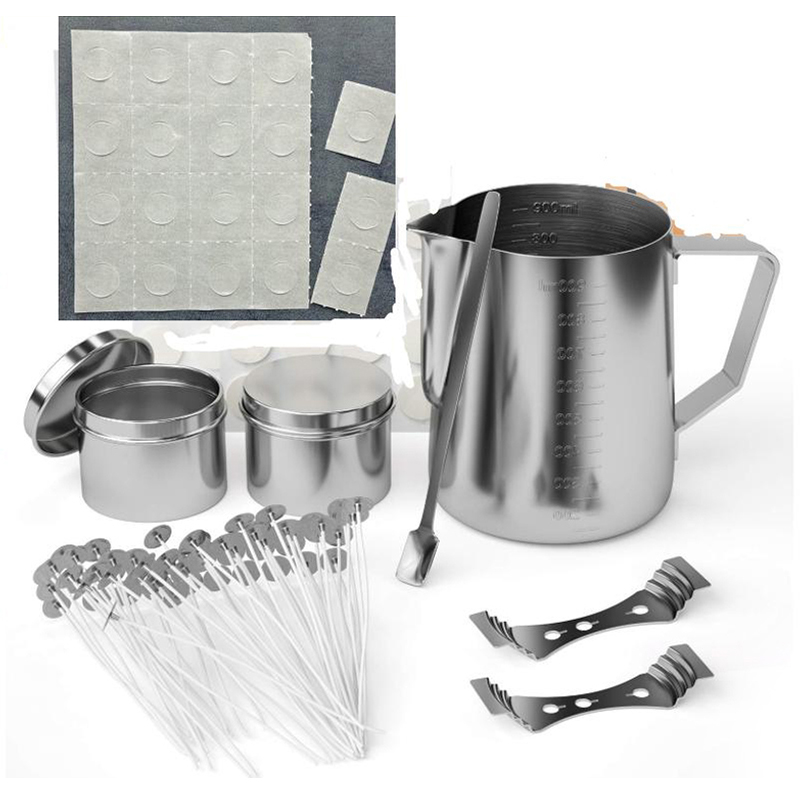 Candle Making Kit DIY Candles Craft Tools With Candle Make Pouring Pot And Spoon, 100Pcs Candle Wicks And Candle Wicks Sticker,