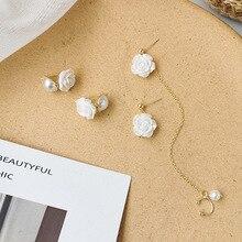 Whte Shell Rose Temperament Earrings for Women Gold Color Metal Asymmetric Flower Long Tassel Earrings Drop Earrings Jewelry pair of stylish rhinestone flower asymmetric design earrings for women