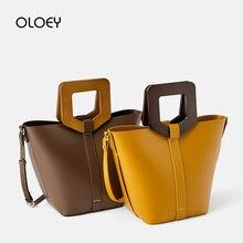 Женская винтажная Сумка тоут из искусственной кожи, дизайнерская сумка с деревянной ручкой, сумка мессенджер, 2019