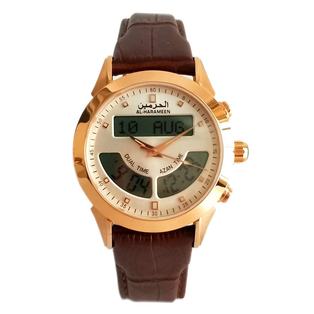 Muslim Azan Watch Al Harameen Fajr Time Wristwatch 6102 WA-10B Islamic Qibla Clock With Prayer Compass Time Best Islam Gifts