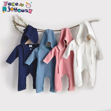 Newborn Baby Romper Boys And Girls Ribbed Clothes B