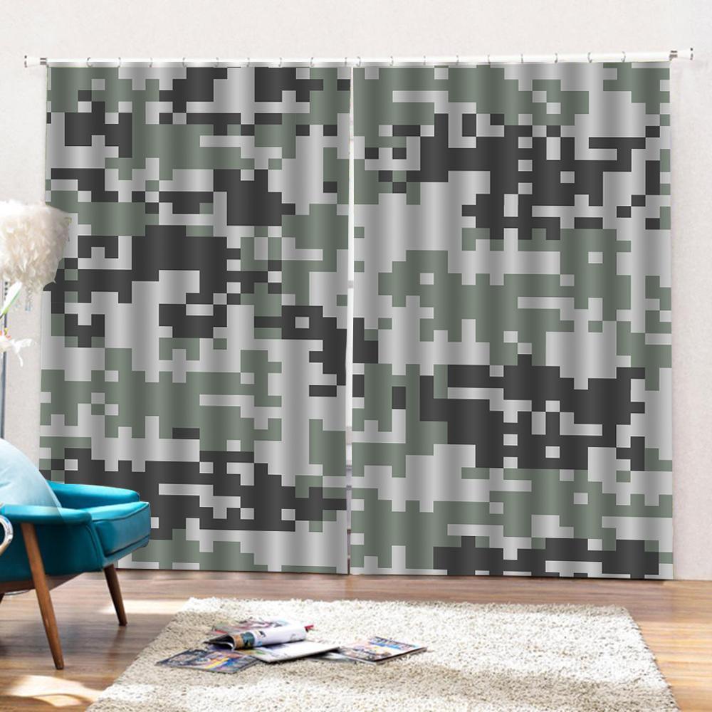 Personalizado Tendência Da Moda Cortina de Chuveiro de Poliéster Camuflagem Verde Do Exército imagem Geométrica Cortinas Para Cortinas do quarto sala de estar - 3