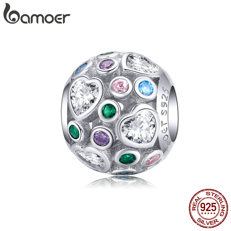 Bamoer Openwork Heart CZ Colorful Round Metal Beads For Women Jewelry Making 925 Sterling Silver DIY Bracelet Jewelry BSC183