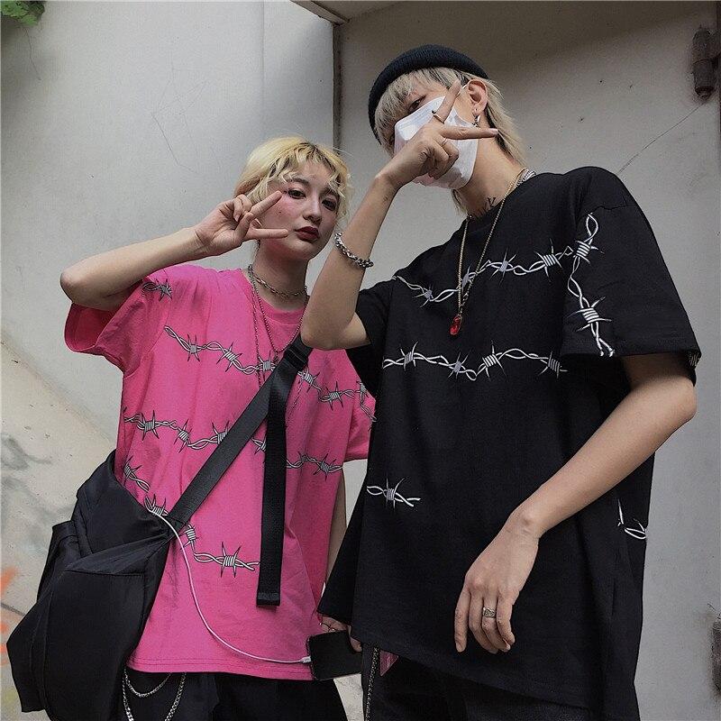 Harajuku Women's T-Shirts Streetwear T Shirt Loose Short Sleeve Unisex Tees Couple Clothes Grunge Tumblr Tops