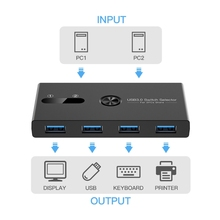 USB 3.0 Switch Selector 4 Ports 2 Computers Switcher Adapter Hub for PC Printer Scanner One Button 2 Cables
