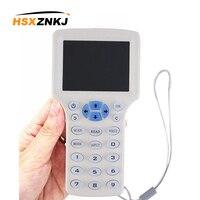 Inglês rfid leitor escritor copiadora duplicador ic/id 10 freqüência com cabo usb para 125 khz 13.56 mhz cartões lcd tela