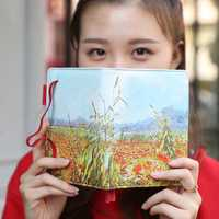 2020 Planer NoteBook Jährlich Agenda Kugel Journal Notebook A6 Leder Tagebuch Reise Sketch Nette Blume Retro Van Gogh Abdeckung