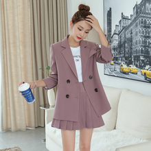 Temperament Womens Suit Set Skirt Autumn new solid color womens suit Casual high waist skirt two-piece quality