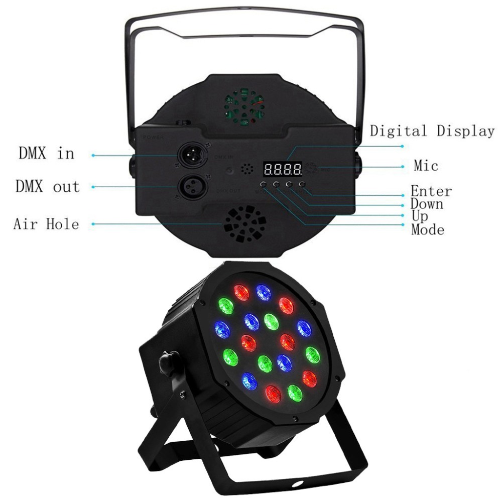 Disco Light Color DMX Voice Control Self-Propelled Laser Staining Stage Lights KTV Christmas 18LED (3)