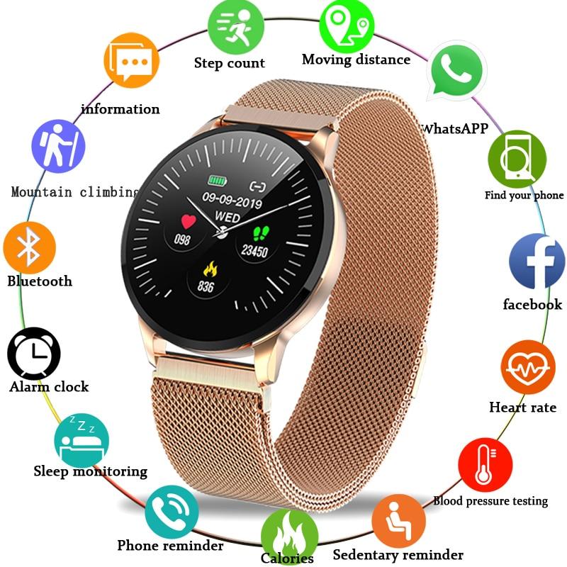 2019 nouveau bracelet de fitness étanche en acier inoxydable montre intelligente hommes femme pour iPhone Sport smartwatch femmes bande de fréquence cardiaque