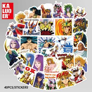 Image 5 - 40 Pcs/set Anime Saint Seiya Series Cartoon Notebook Stickers Paper  Hand book DIY Decoration Stickers