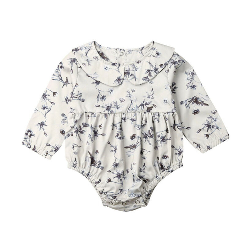 0-18M Flower Newborn Baby Girl Rompers Long Sleeve Jumpsuit Peter Pan Collar Autumn Spring Baby Girl Clothes Costumes