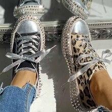 Women Low Top Shoes Lace Up Flat Shoe Leopard Rivet Embellished Flattie Canvas Sneakers Sapatos Femininos Flats Chaussure Femme цена 2017