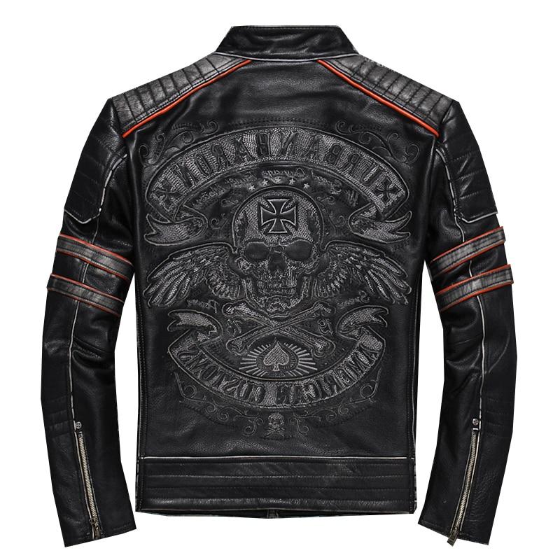 2020 Vintage Black Men's Genuine Leather Jacket Skull Embroidery Pattern Plus Size XXXL Real Cowhide Biker's Coat FREE SHIPPING