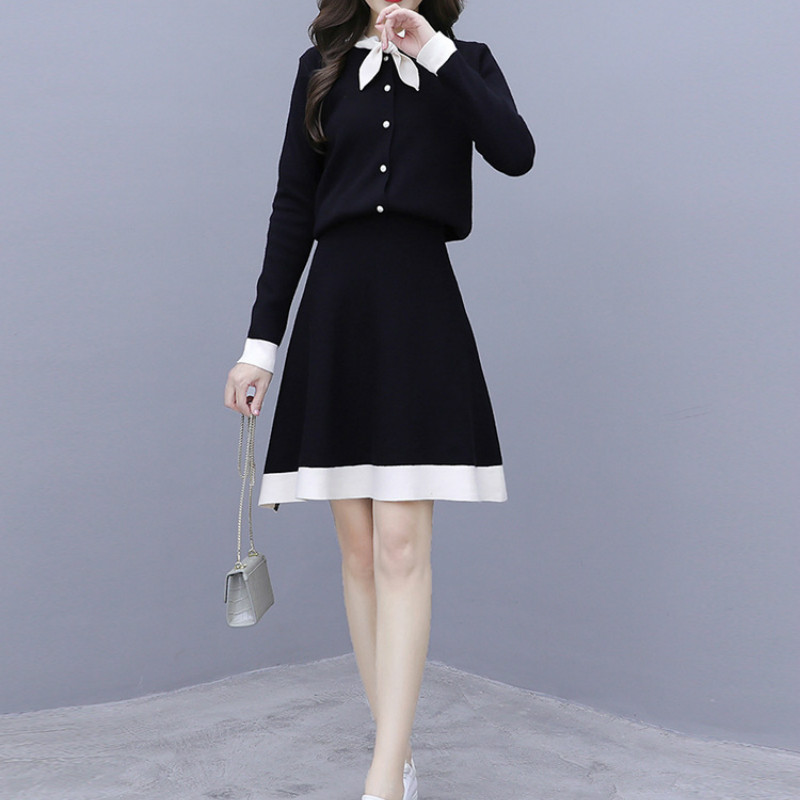 Fashion casual autumn French sweater + skirt two-piece suit women two piece outfits
