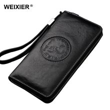 WEIXIER® RFID Blocking Genuine Leather Wallet Men's Vintage Long Business Purse with Multi Pockets
