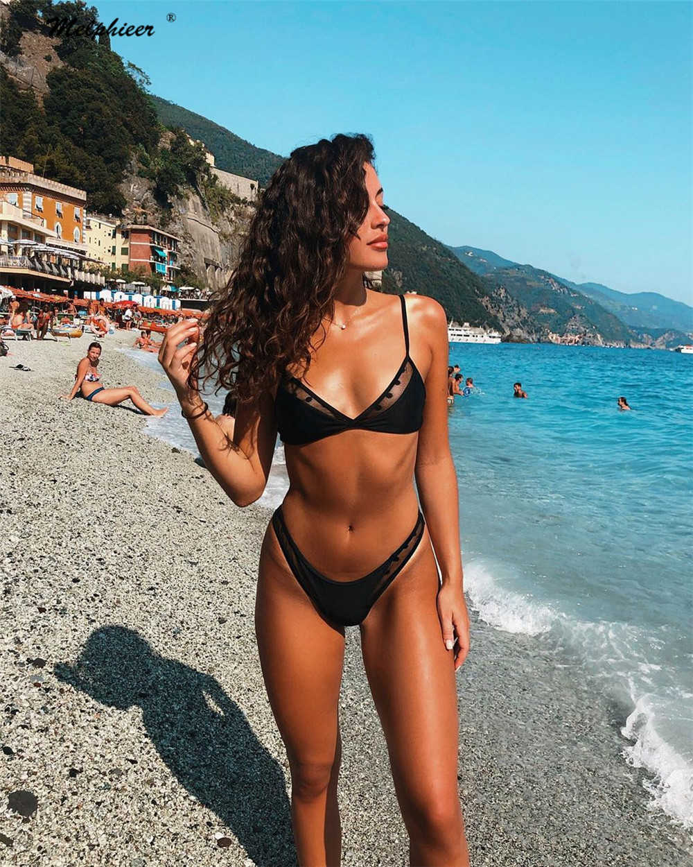 Melphieer New Black Bikini Sets Mesh Brazilian Swimwear Girls Sexy Australian Biquini Swimsuit Bathing Suits Maillot Beach 2020