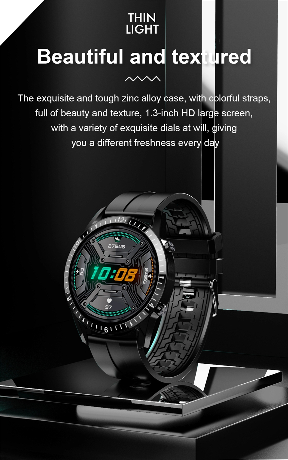Hafccdbca4fac4e1484ab44fb6838e9f72 2021 Smart Watch Phone Full Touch Screen Sport Fitness Watch IP68 Waterproof Bluetooth Connection For Android ios smartwatch Men