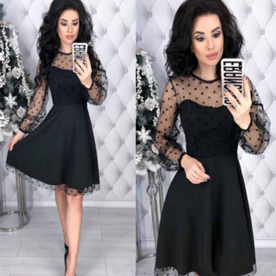 Mode Patchwork Dot dentelle robe femmes Vintage col rond grande taille robes de soirée femme Chic mince automne manches longues robe a-ligne