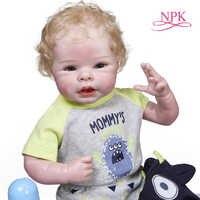 NPK-Muñeca de cuerpo suave para recién nacido, muñeco de bebé recién nacido de 55CM, tamaño de muñeca de bebé recién nacido, rubia con pelo enrutado, 100%, hecha a mano, muñeca de arte coleccionable