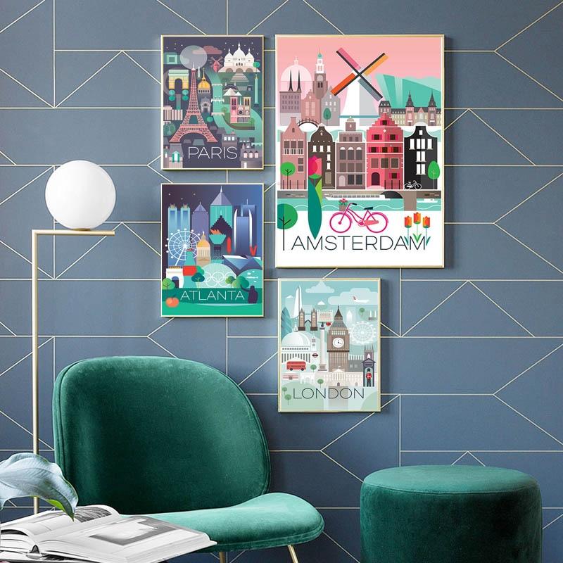 Pays ville paysage 5D bricolage diamant peinture point de croix Amsterdam londres Paris mosaïque broderie chambre décor Art