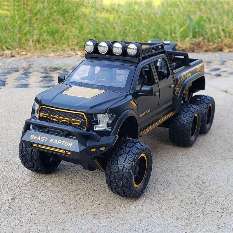 New 1:28 Ford Raptor F150 Alloy Diecast Car Model Toys Sound Light Toy Pickup Truck Pull Back Vehicle For Children машинки image