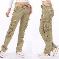 8 Colors Plus Size Women's Cotton Cargo Pants Leisure Trousers Pocket Causal Pants