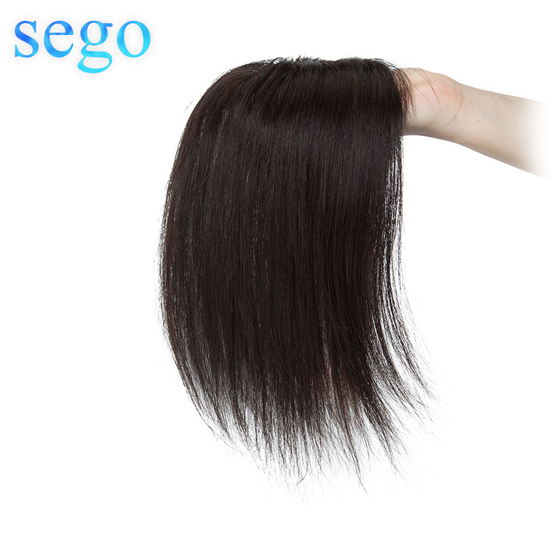SEGO 12inch 10x10cm Silk Base Hair Toppers Hair Wig For Women Non-Remy 100% Human Hair  Piece Clip In Hair Extensions Toupee