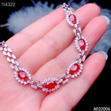 KJJEAXCMY fine jewelry 925 sterling silver inlaid natural ruby bracelet delicate female trendy bracelet support testing