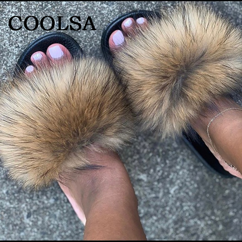 Image 2 - Coolsa Summer Women Fox Fur Slippers Real Fur Slides Female Indoor Flip Flops Casual Raccon Fur Sandals Vogue Fluffy Plush Shoes-in Slippers from Shoes