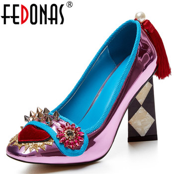 FEDONAS Brand Design Pumps Women Spring Autumn Patent Leather Party Prom Night Club Shoes Woman Square Toe Pumps Plus Size