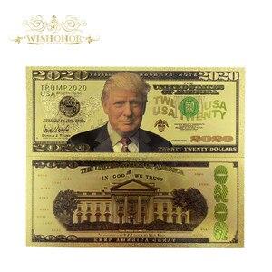 10 sztuk/partia dla nowych produktów kolor ameryka 2020 Trump banknoty dolary złoty banknot w 24k Plated jako Bill waluty prezenty
