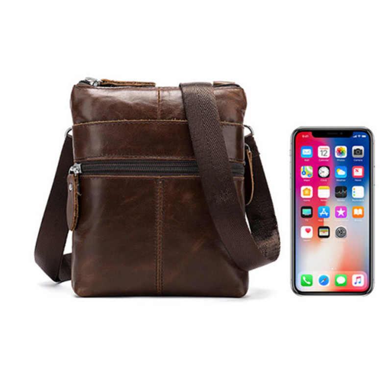 Nieuwe mannen Messenger Bag Echt Leer Vintage Man Lederen Schoudertas Kleine Luxe Crossbody Tas Voor Heren Mannen Lederen tas