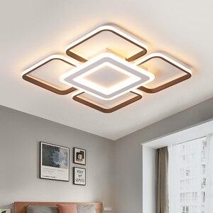 Image 2 - Moderne LED kronleuchter decke für wohnzimmer schlafzimmer plafonnier führte braun aluminium + acryl moderne kronleuchter leuchten
