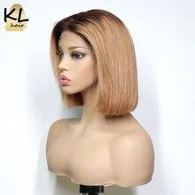 KL T4/27 Кружевные передние человеческие волосы парики прямые бразильские волосы remy Омбре медовый блонд боб парики для черных женщин отбеленные узлы 13x4