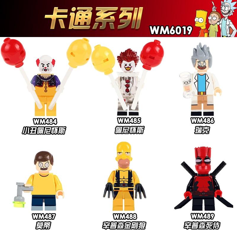 Wm6019 única venda modelo super heróis o palhaço pennywise rick morty selvagem deadpool blocos de construção figura crianças presente brinquedos