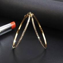 Серьги кольца с Стразы простые серьги большие круглые золотого