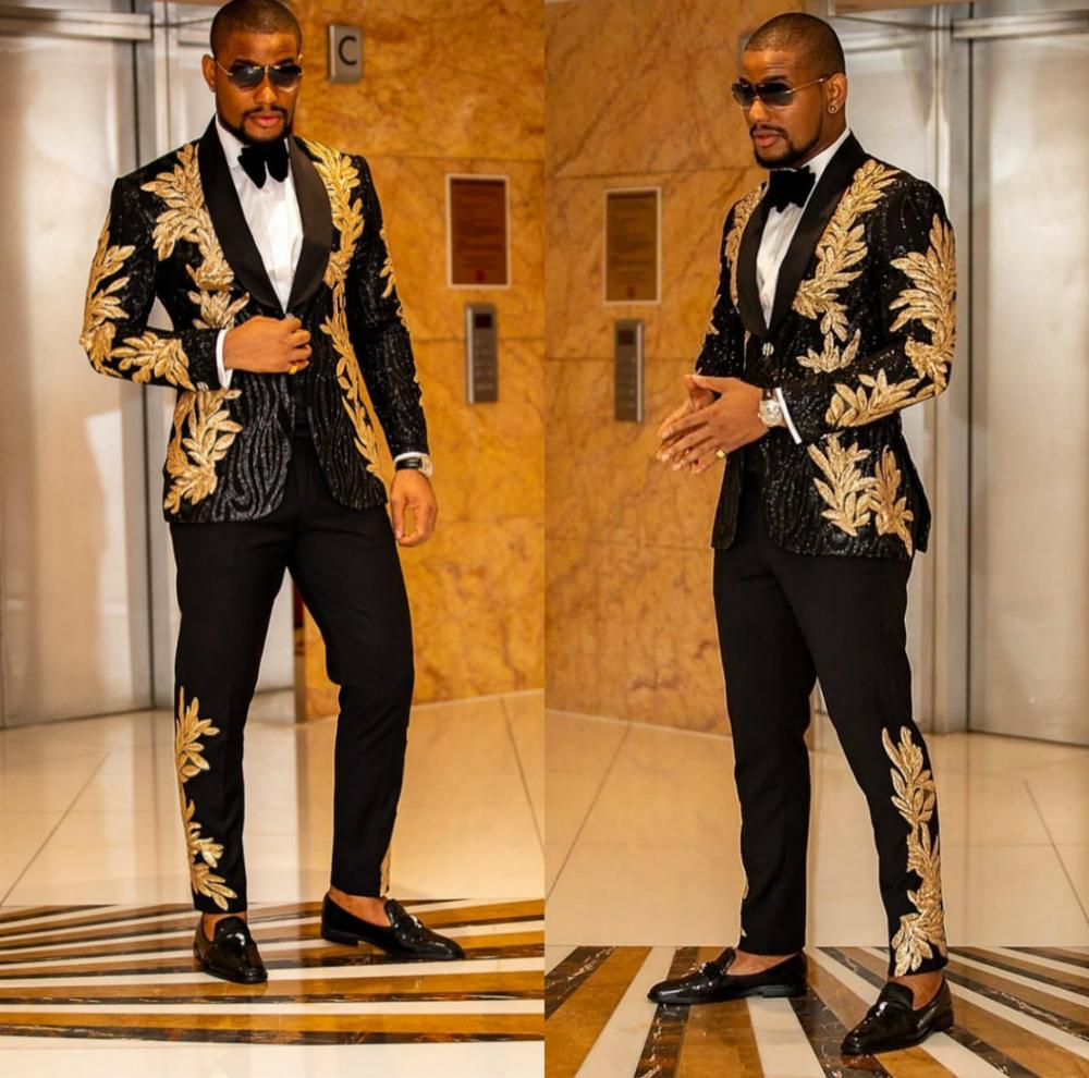 Black Men Suits With Embroidery Beaded Two Pieces Shawl Lapel Designer Wedding Tuxedos Gold Mens Jacket And Pants