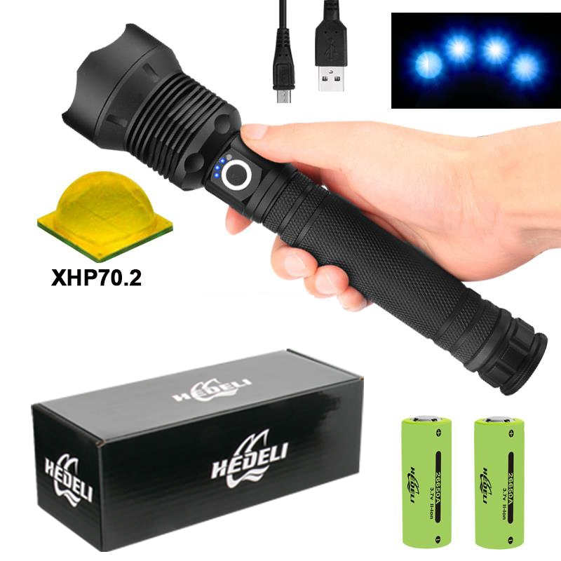 250000 Lm XHP70.2 Most Powerful Led Flashlight Torch Xhp70 Usb Tactical Flashlights Xhp50 Rechargeable Flash Light 18650 26650