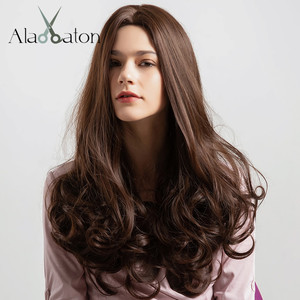 ALAN EATON Black Brown Synthetic Hair Wigs Natural Middle Part Long Wavy Wigs For Woman Cosplay Female Heat Resistant Fibre(China)