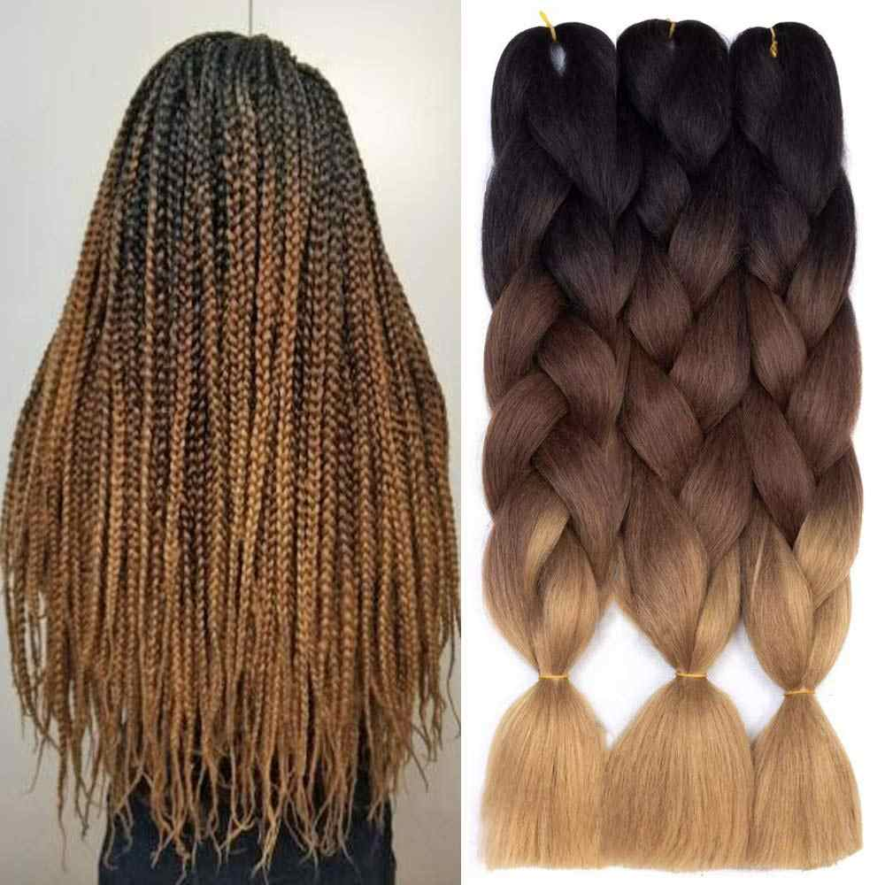 24 inch Jumbo Braids Long Ombre Jumbo Synthetic Braiding Hair Crochet Blonde Pink Blue Grey Hair Extensions African Smart Braid