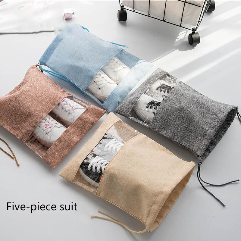 5 Pieces Shoe Storage Bag Travel Household Imitation Linen Antifouling Dust-Proof High Capacity Travel Storage Bag