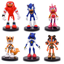 6 pcs/lot Anime Sonic Tails Amy Rose Knuckles PVC Action Figure Doll Model Toy Christmas Gift For Children 7
