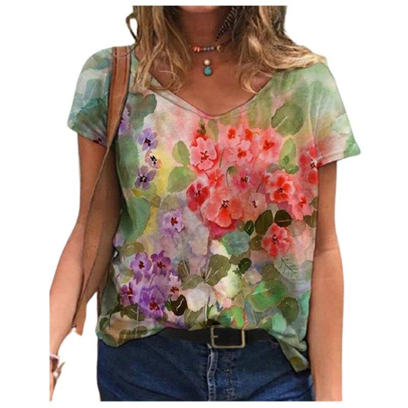 Тай-дай 3D Цветочный Принт футболки для девочек повседневные футболки с короткими рукавами свободные размера плюс Топы уличной моды дамы с v-...