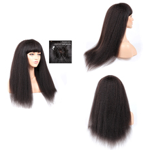 Wigs Silk-Base Human-Hair 250-Density Kinky Straight Bangs Pre-Plucked with Remy Headspin