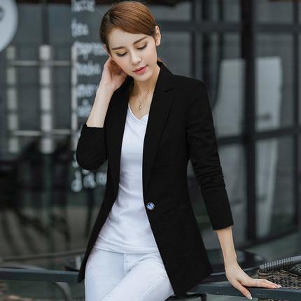 Spring Women Slim Blazer Coat 2020 Plus Size 4XL Casual Jacket Long Sleeve One Button Suit Lady Blazers Work Wear LX1393